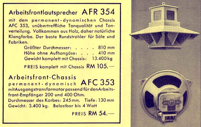 Werbung AFR 354, AFC 353 - DAF 1011 Lautsprecher Chassis und Rundstrahler (Ampellautsprecher)