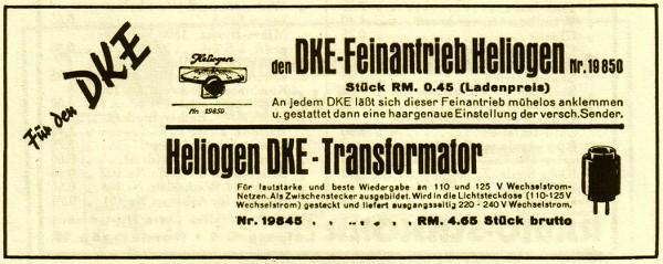 Werbung DKE Feinantrieb von HELIOGEN & DKE Netztrafo