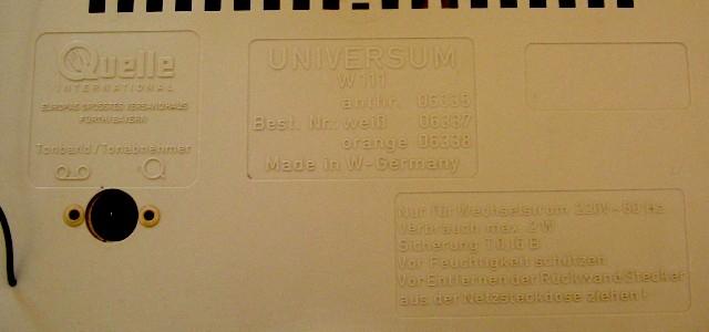 Universum W111 - Quelle DKE rückwand